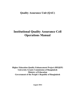 Institutional Quality Assurance Cell Operations Manual Quality Assurance Unit (QAU)