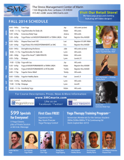 FALL 2014 SCHEDULE  The Stress Management Center of Marin