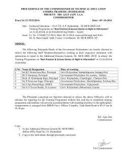 PROCEEDINGS OF THE COMMISSIONER OF TECHNICAL EDUCATION ANDHRA PRADESH:: HYDERABAD