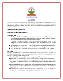 VACANCIES www.kabarak.ac.ke Kabarak University  invites applications  from  interested ...