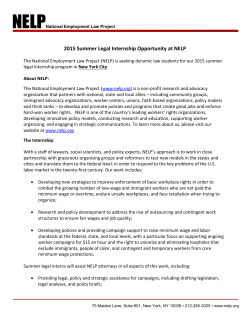 2015 Summer Legal Internship Opportunity at NELP