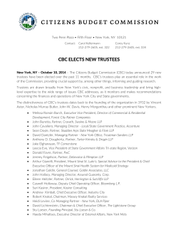 citizens budget commission  CBC ELECTS NEW TRUSTEES