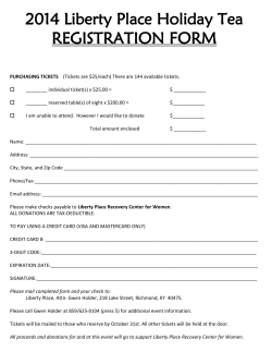 2014 Liberty Place Holiday Tea REGISTRATION FORM