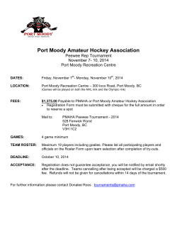 Port Moody Amateur Hockey Association Peewee Rep Tournament November 7- 10, 2014