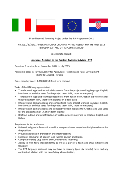 EU co-financed Twinning Project under the IPA Programme 2011