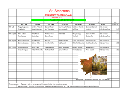 St. Stephens LECTOR'S SCHEDULE October 2014