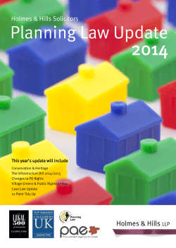 Planning Law Update 2014 Holmes & Hills Solicitors