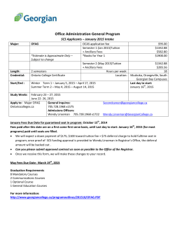 Office Administration General Program SCS Applicants – January 2015 Intake