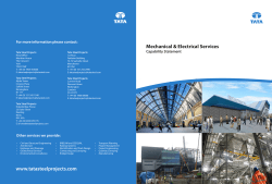 Mechanical & Electrical Services Capability Statement For more information please contact:
