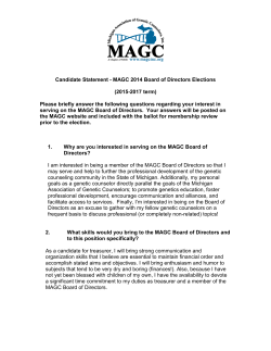 Candidate Statement - MAGC 2014 Board of Directors Elections (2015-2017 term)