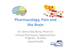 Pharmacology, Pain and the Brain Dr. Donna Kay Buna, Pharm D