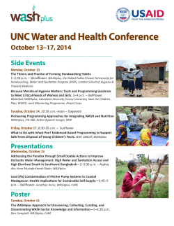 UNC Water and Health Conference Side Events October 13–17, 2014 Monday, October 13