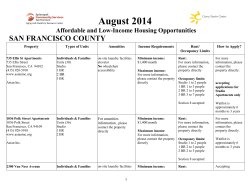 August 2014  SAN FRANCISCO COUNTY Affordable and Low-Income Housing Opportunities