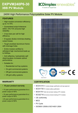 DXPVM240P6-30 3BB PV Module 240W High Performance Polycrystalline Solar PV Module FEATURES