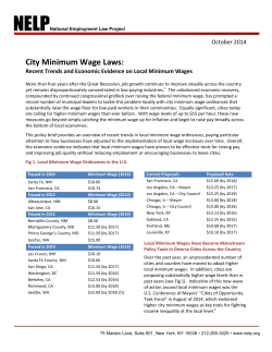 City Minimum Wage Laws : October 2014
