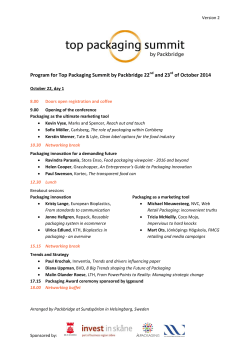 Program for Top Packaging Summit by Packbridge 22 and 23