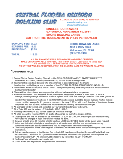SINGLES TOURNAMENT SATURDAY, NOVEMBER 15, 2014 SHORE BOWLING LANES