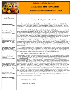 G October 2014  BELL NEWSLETTER Riverview  First United Methodist Church