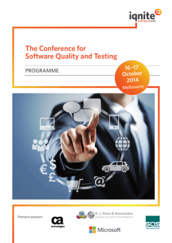 The Conference for Software Quality and Testing 16 – 17 October