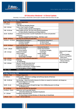 GP Education Weekend - A Clinical Update  Saturday 1 November 2014
