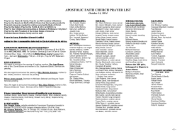 APOSTOLIC FAITH CHURCH PRAYER LIST October 14, 2014 `