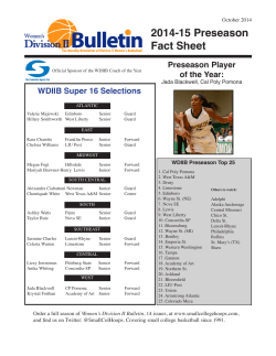 2014-15 Preseason Fact Sheet WDIIB Super 16 Selections October 2014