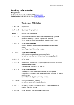 Realizing reformulation    Wednesday 22 October Programme