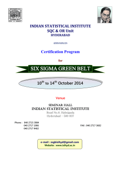 SIX SIGMA GREEN BELT  INDIAN STATISTICAL INSTITUTE SQC & OR Unit