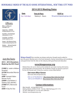 honorable order of the blue goose international, new york city... Officers: 2014-2015 Meeting Dates Date
