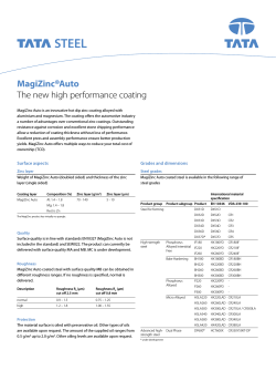 ® MagiZinc Auto The new high performance coating