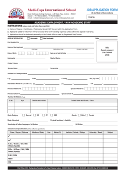 JOB APPLICATION FORM (To be filled in Block Letters)