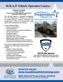 Preparedness M.R.A.P. Vehicle Operator Course National Institute