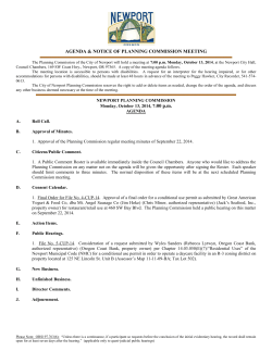 AGENDA & NOTICE OF PLANNING COMMISSION MEETING