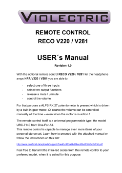 USER´s Manual REMOTE CONTROL RECO V220 / V281