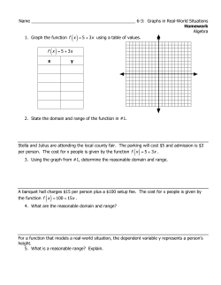 Name ____________________________________________ 6-3:  Graphs in Real-World Situations Algebra Homework