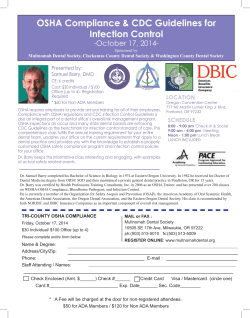 OSHA Compliance & CDC Guidelines for Infection Control -October 17, 2014- LOCATION