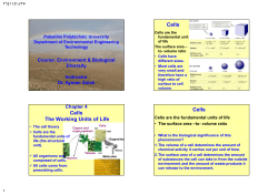 Cells The Working Units of Life Course: Environment & Biological Diversity
