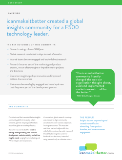 icanmakeitbetter created a global insights community for a F500 technology leader.
