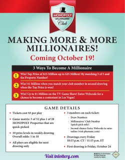 MAKING MORE MILLIONAIRES! Coming October 19! 1