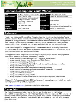 Position Description: Youth Worker St Marys Flexible Learning Centre