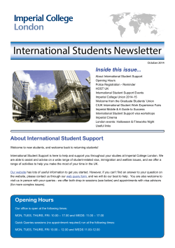 International Students Newsletter Inside this issue...