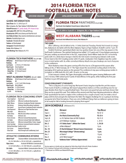 2014 FLORIDA TECH FOOTBALL GAME NOTES GAME INFORMATION
