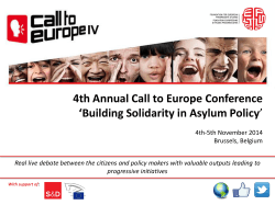 4th Annual Call to Europe Conference 'Building Solidarity in Asylum Policy