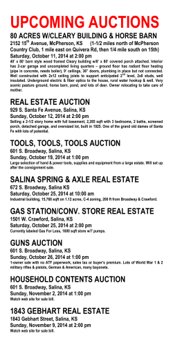 UPCOMING AUCTIONS 80 ACRES W/CLEARY BUILDING & HORSE BARN