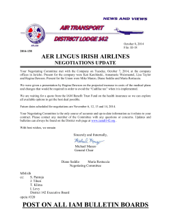 AER LINGUS IRISH AIRLINES NEGOTIATIONS UPDATE
