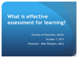 What is effective assessment for learning?  Facullty of Education, McGill