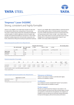 Ympress® Laser S420MC Strong, consistent and highly formable