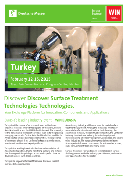 Turkey Discover Surface Treatment Technologies Technologies. February 12-15, 2015
