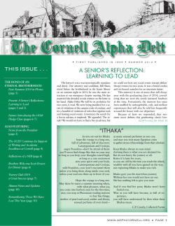 The Cornell Alpha Delt this issue . . . A Senior'S reflection: