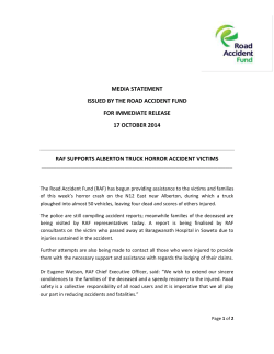 MEDIA STATEMENT ISSUED BY THE ROAD ACCIDENT FUND FOR IMMEDIATE RELEASE
